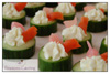 Cucumber Cups with Smoked Salmon, Pickled Ginger and Wasabi Cream Cheese