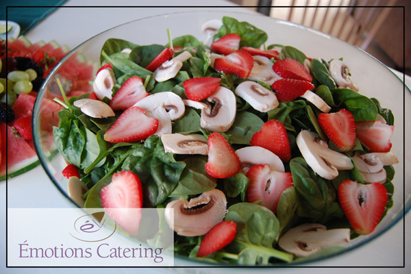 Spinach Salad with Strawberries and Sliced Mushrooms served with a Creamy Poppy Seed Dressing